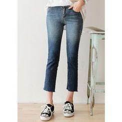J-ANN - Fray-Hem Washed Straight-Cut Jeans