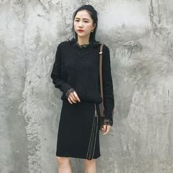 GAGAI - Set: Cable Knit Sweater + Skirt