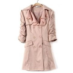 9mg - Ruched-Sleeve Rhinestone Trench Coat