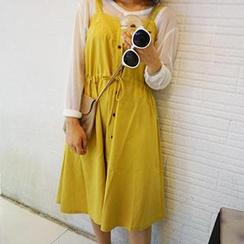Eva Fashion - Sleeveless Button Front Jumper Skirt