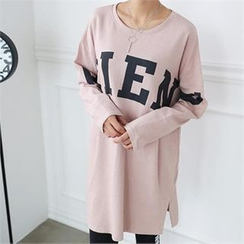 CHICFOX - Long-Sleeve Lettering T-Shirt Dress