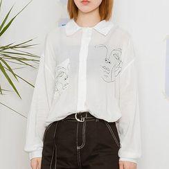 Heynew - Print Long-Sleeve Blouse