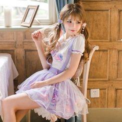 Candy Rain - Ribbon Print Suspender Mini Tulle Skirt