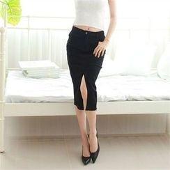 clubber - Slit-Front Skirt