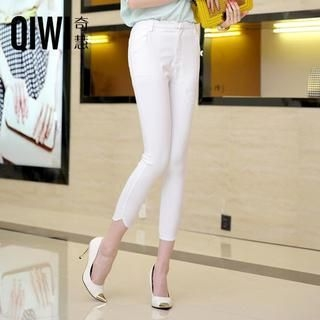 QIWI - Scalloped-Trim Cropped Skinny Pants