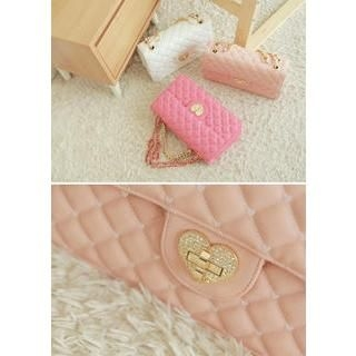 Bongjashop - Heart-Lock Quilted Shoulder Bag