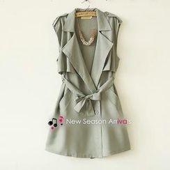 Munai - Tie-Waist Sleeveless Trench Coat