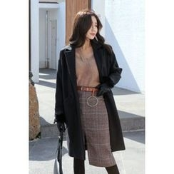 migunstyle - Single-Breasted Notched-Lapel Coat
