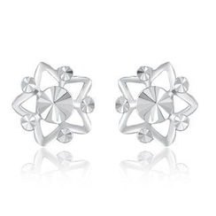 MaBelle - 14K/585 White Gold Diamond Cut Star Earrings