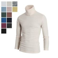 DANGOON - Turtle-Neck Colored Slim-Fit Knit Top