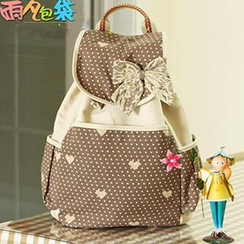 Canvas Love - Bow-Accent Printed Canvas Backpack