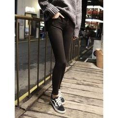 hellopeco - Brushed Fleece Skinny Pants
