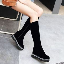幸福鞋坊 - 仿麂皮高身靴