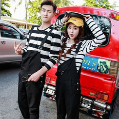 Evolu Fashion - Couple Matching Cropped Pinafore Jumpsuit