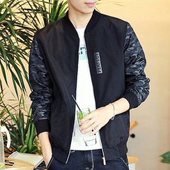 Really Point - Camouflage Panel Baseball Jacket