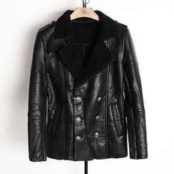 EDAO - Double-Breasted Faux Leather Jacket