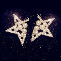 Nanazi Jewelry - Faux Pearl Star Earrings