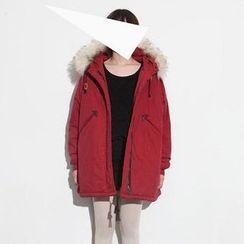HAZEL - 毛毛边连帽填料派克大衣