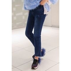 migunstyle - Washed Fleece-Lined Jeans