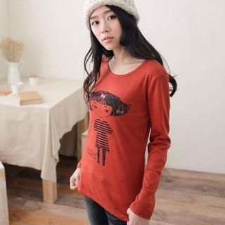Long-Sleeve Girl Print T-Shirt