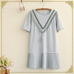 Fairyland - Chevron Tasseled Short-Sleeve Dress