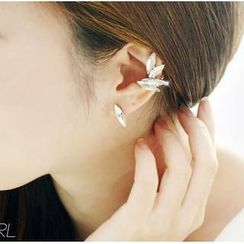 Ticoo - Set: Rhinestone Earrings + Ear Cuff