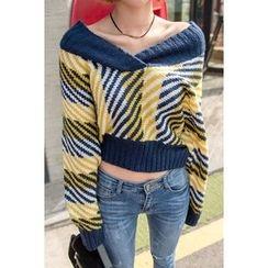 migunstyle - V-Neck Pattern Knit Top
