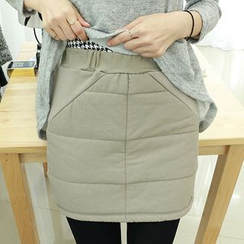 Dodostyle - Band-Waist Padded Pencil Skirt
