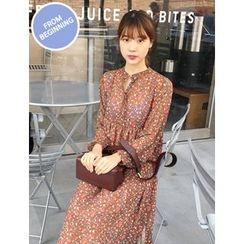 FROMBEGINNING - Mandarin-Collar Maxi Chiffon Dress