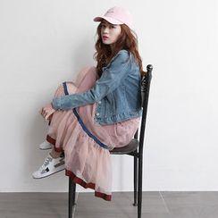 NIPONJJUYA - Contrast-Trim Midi Tulle Skirt