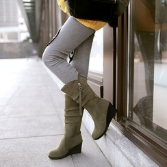 Shoes Galore - Wedged Mid-Calf Boots