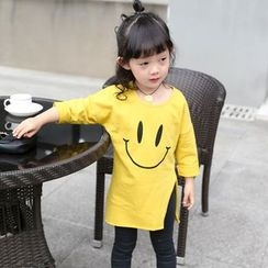 Merry Go Round - Kids Smiley Print Slit Side Long T-Shirt