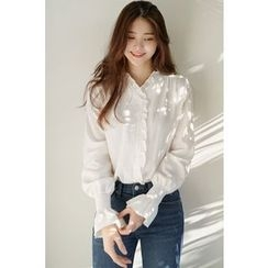 CHERRYKOKO - V-Neck Frill-Trim Blouse