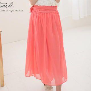 CatWorld - Tie-Waist Long Skirt