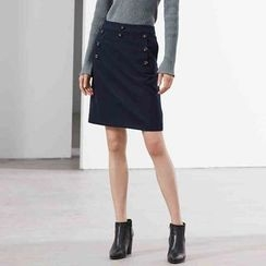 DIALOG - Buttoned A-Line Skirt