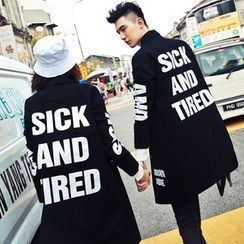 Evolu Fashion - Couple Matching Lettering Trench Coat