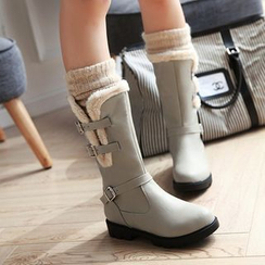 Shoes Galore - Furry Trim Buckled Mid-Calf Boots