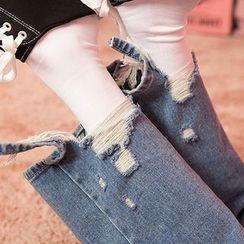 chuu - Distressed-Hem Washed Wide-Leg Jeans
