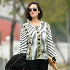 SO Central - Embroidered Panel Striped Sweater