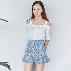 AC - Ruffle-Hem Floral Skirt
