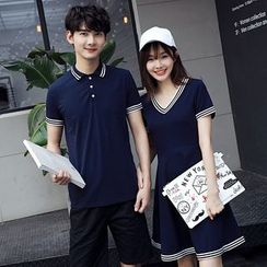 Azure - Couple Matching Contrast Trim Short-Sleeve Polo / V-neck Short-Sleeve Dress