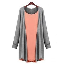 chome - Long-Sleeve Mock Two Piece Dress