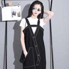 Sonne - Cutaway Stitched Sleeveless Jumper Dress