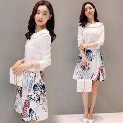 Mandalle - Set: Plain Long Sleeve Top + Printed A-Line Skirt