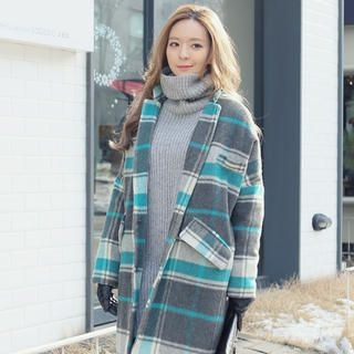 REDOPIN - Wool Blend Check Coat