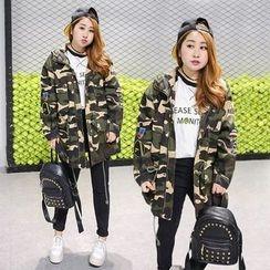 Inopine - Applique Camouflage Hooded Jacket