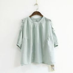 Ranche - Shoulder-Cutout 3/4-Sleeve Top