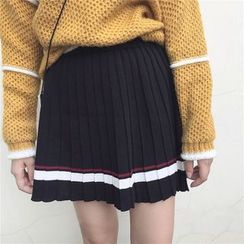 Ivena - Striped Pleated Knit Skirt