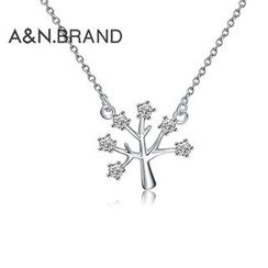 AINIAN - 925 Sterling Silver Rhinestone Tree Necklace