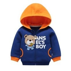 Ansel's - Kids Bear Applique Color Block Hooded Jacket